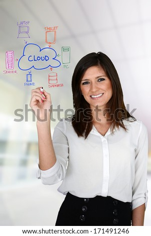 Young woman designing a website at her office - stock photo