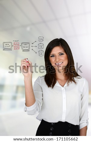 Young woman designing her website at the office - stock photo