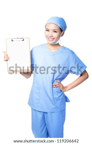 Young woman doctor or nurse smile holding empty blank clipboard sign with copy space for text isolated over white background. asian female model - stock photo