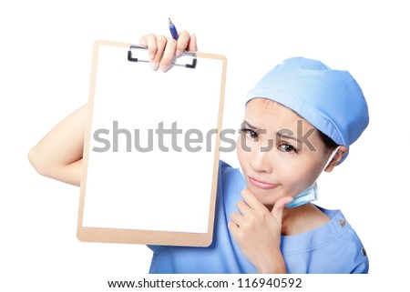 Young woman doctor or nurse thinking showing empty blank clipboard with copy space for text isolated over white background. asian female model - stock photo