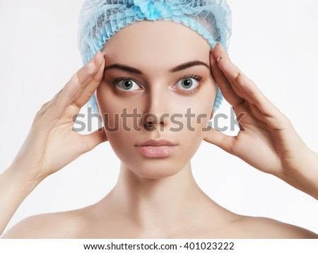Young woman doctors patient.beauty girls cosmetology - stock photo