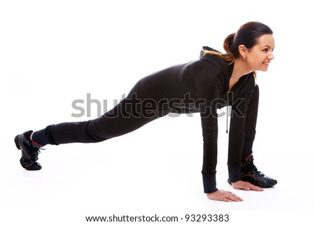 Young woman doing fitness exercises isolated on white background