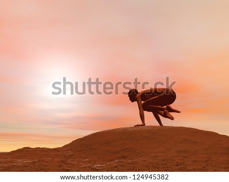 Young woman doing scale pose, tolasana, while practicing yoga outside in front of sunset