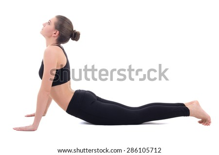 young woman doing stretching exercises isolated on white background - stock photo