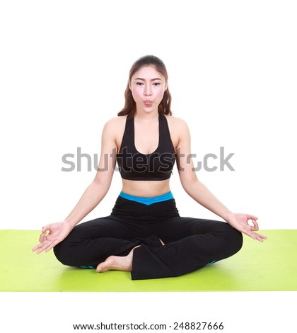 Young woman doing yoga exercise (tongue was wrapped) with yoga mat isolated on white background