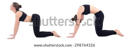 young woman doing yoga isolated on white background