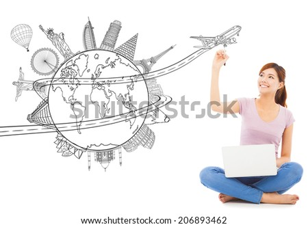 young woman drawing a travel trip planning - stock photo