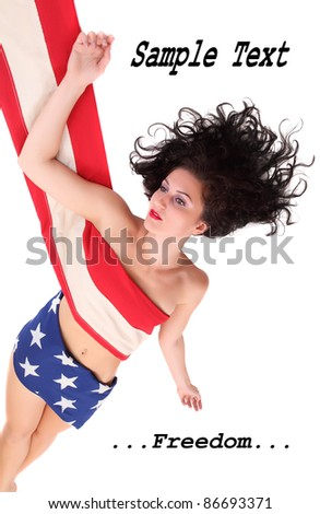 Young woman dressed in american flag with space for your text. - stock photo