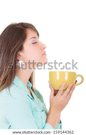 Young woman drinking cofee portrait. - stock photo