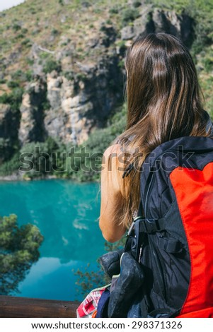 Young woman during a hiking - stock photo