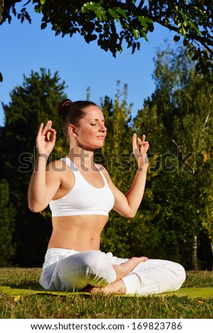 Young woman during yoga meditation in the park - stock photo