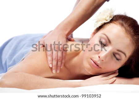 Young woman enjoyng a massage