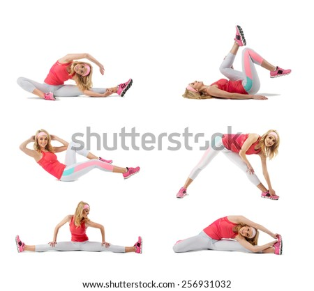 Young woman exercising collage - yoga,fitness,pilates,aerobics - stock photo