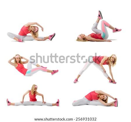 Young woman exercising collage - yoga,fitness,pilates,aerobics - stock photo