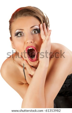 Young woman expressing surprise - stock photo