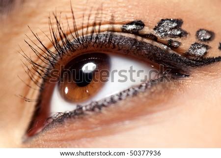 Young woman eye with makeup closeup. - stock photo