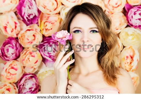 Young Woman Fashion Model. Makeup. Hairstyle. Floral Blossom Background