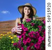 Young woman gardening - stock photo