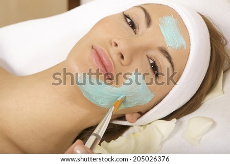young woman getting beauty skin mask treatment on her face with brush - stock photo