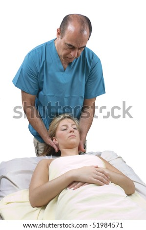 young woman getting Massage Therapy from a masseur