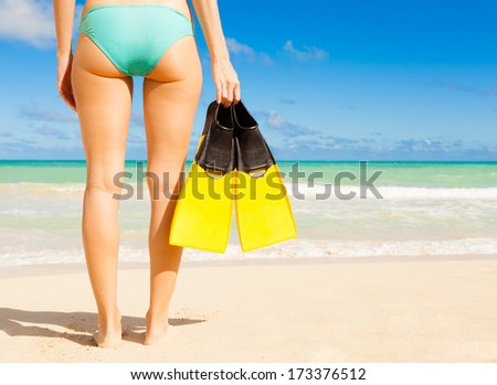 Young woman going snorkel. - stock photo