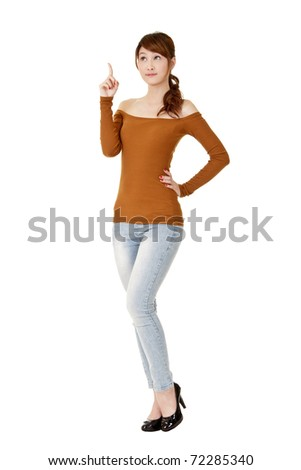 Young woman got a idea, full length portrait isolated on white background. - stock photo