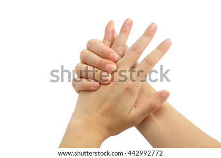 Young woman hand pain isolated on white background - stock photo
