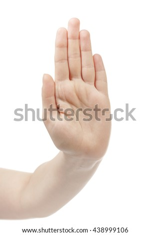 young woman hand show stop hand gesture - stock photo