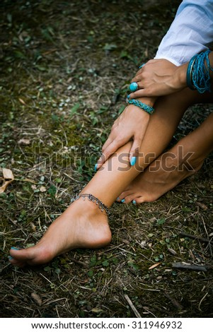 Girl Legs Stock Photo 466025795