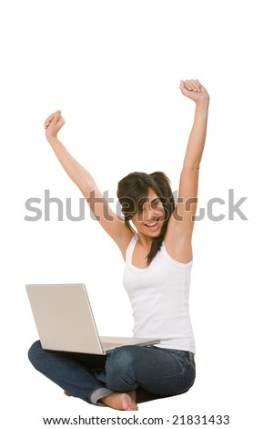 young woman happy during a laptop session