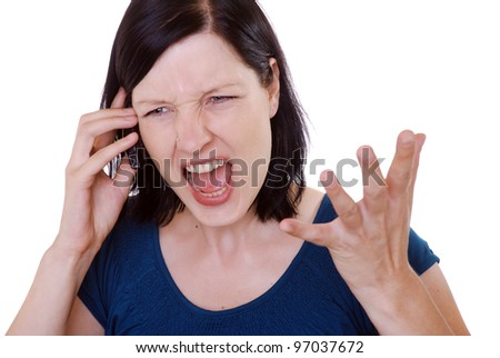 young woman has an unpleasant call - stock photo