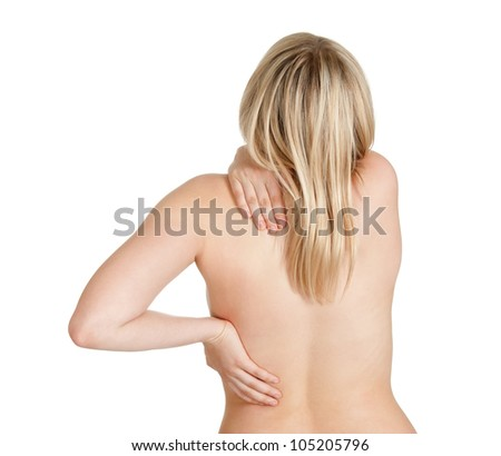 young woman has back pain