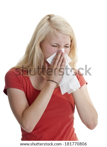 young woman has hay fever - stock photo