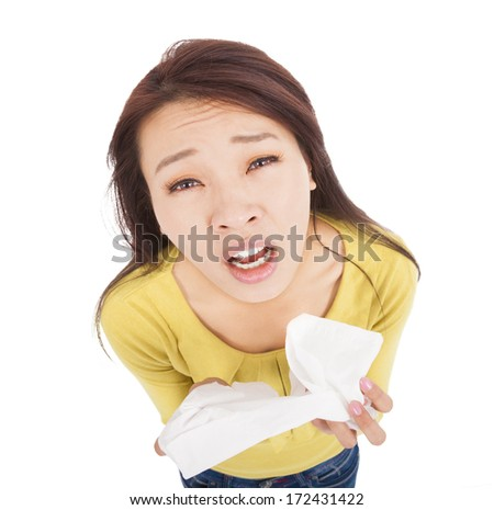 young woman have a cold with painful face