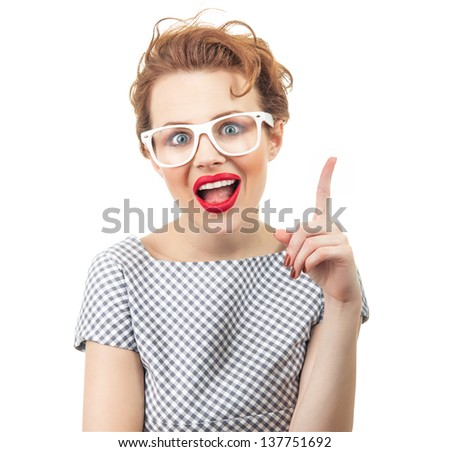 Young woman have idea, clever girl with eyeglases, isolated on white - stock photo
