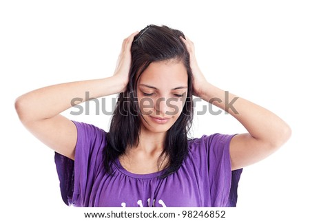 Young woman having a head ache isolated in white - stock photo