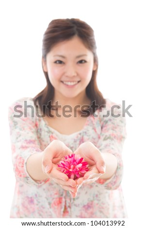 Young woman having a present