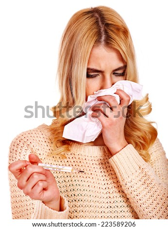 Young woman having  flue taking thermometer. Isolated. - stock photo