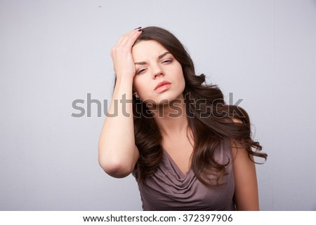 young woman headache