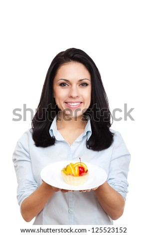 young woman hold delicious piece of cake, female happy smile, isolated on white background food concept - stock photo
