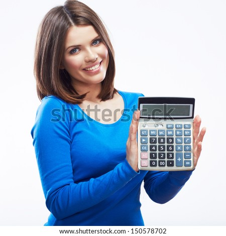 Young woman hold digital calculator. Female smiling model isolated white background.