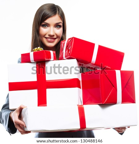 Young woman hold gift box . Smiling happy girl on white background. Female model. - stock photo