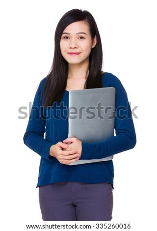Young Woman hold with laptop computer