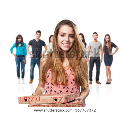 young woman holding a pizza boxes on white background - stock photo