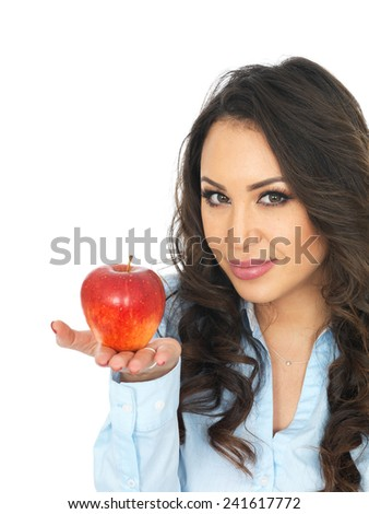 Young Woman Holding a Red Apple