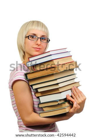 Young woman holding book heap isolated on white background