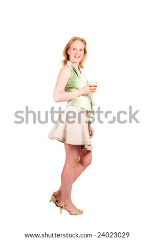 Young woman holding glass of wine isolated on white