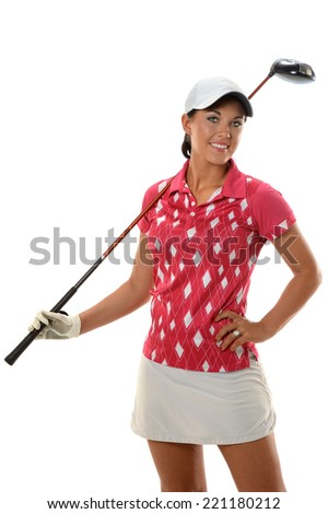 Young woman Holding Golf Club