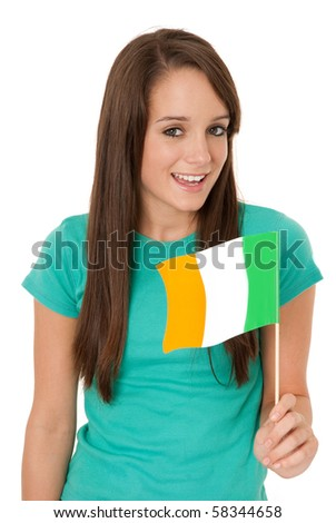 Young woman holding Irish flag isolated on white