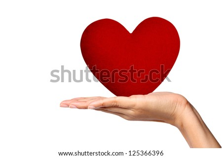 Young Woman Holding Large Red Heart - stock photo